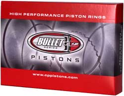 sbc forged pistons set bullet series piston rings box image